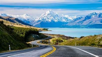 Zealand Lake Mountains Desktop Pukaki Wallpapers Nature