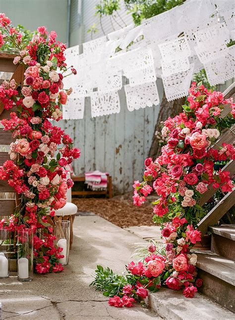 Elegant mexican themed wedding ideas with bougainvillea