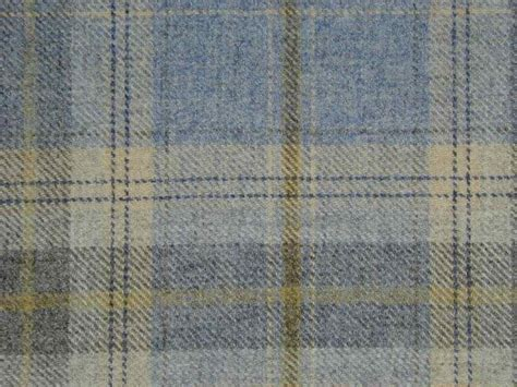 Material For Curtains Uk by 100 Wool Tartan Plaid Cornflower Blue Fabric Curtain