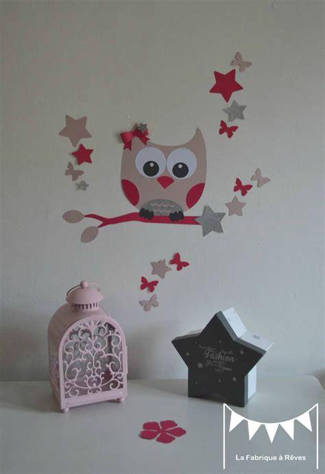stickers de chambre décoration chambre enfant fille stickers hibou chouette