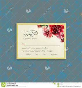 rsvp card suite with watercolor carnation frame stock With wedding invitation rsvp time frame
