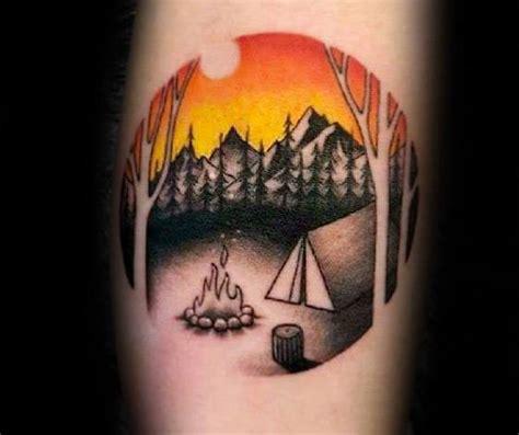 tent tattoo designs  men great outdoors ink ideas