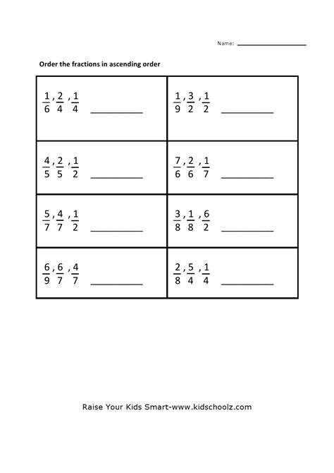 grade  fraction ascending fractions worksheets worksheet