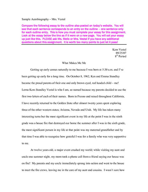 example essay writing writing an autobiography essay