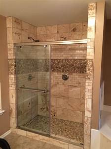 glazed java tan and white pebble tile pebble tile shop With how to tile a bathroom floor and walls