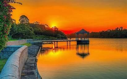 Sunset Orange Summer Lake Garden Forest Sky