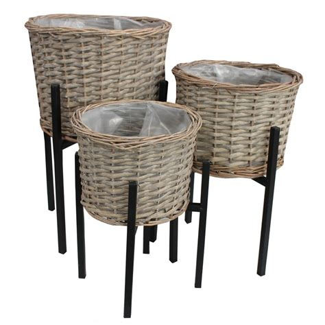 grey wash wicker planter and stand