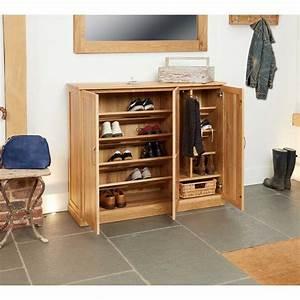 COR20F Baumhaus Mobel Oak Extra Large Wide Shoe Storage