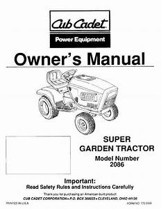 Cub Cadet Owners Manual Model No  2086