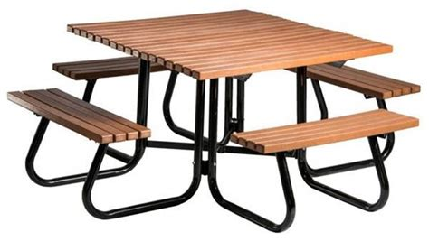 4 Ft. Square Recycled Plastic Picnic Table With Attached Whitewashed Coffee And End Tables Han Solo Table For Cheap Glass Top Marble Industrial Fan With Led Lights Wine Storage Indoor Fireplace