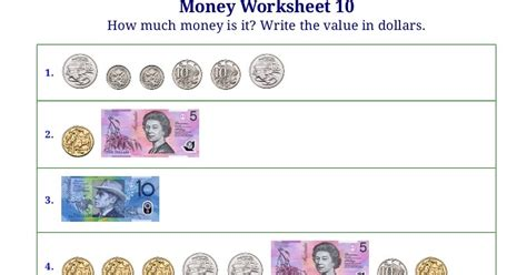 math worksheets australian money them and try