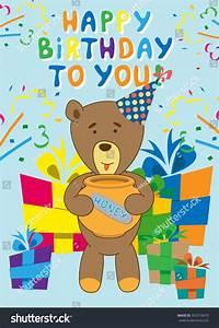 Vector Honey Bear Happy Birthday Postcard Stock Vector ...