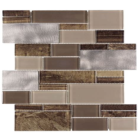 Thinset For Glass Mosaic Tile by Shop Allen Roth Laser Contempo Beige Mixed Material