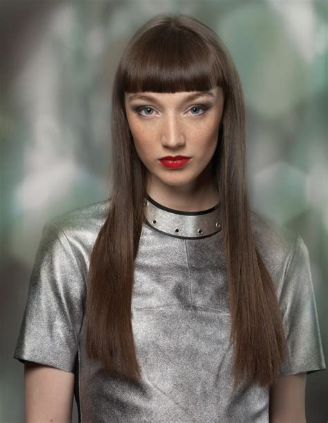 Hair with wide and precision cut straight bangs