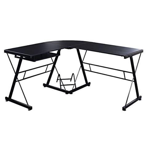 tangkula l shape computer desk pc wood laptop table workstation corner home office black