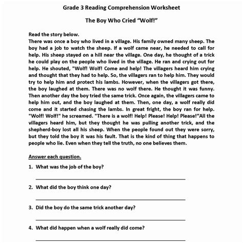 7th grade reading comprehension worksheets with answers