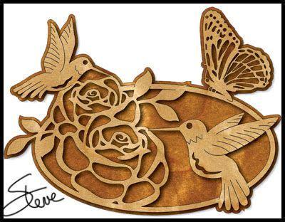 roses  humming birds scroll  pattern metal wood