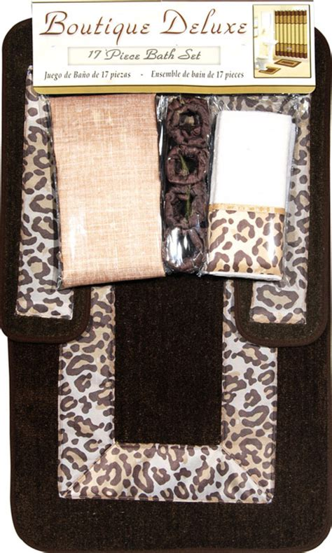 Cheetah Bathroom Rug Set by Safari Animal Print 17 Pieces Bath Rug Shower Curtains