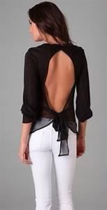 Blouse black white jeans meal cute girl lady women pretty beautiful open back ...