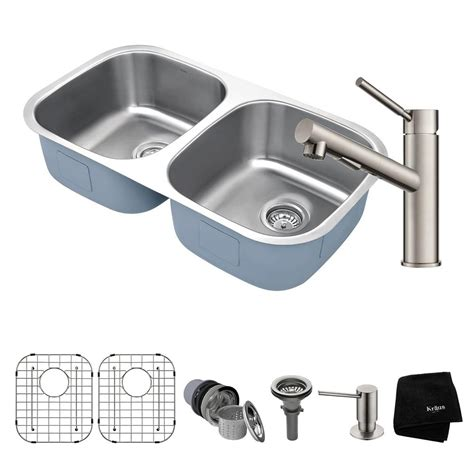 home depot kraus sink kraus premier all in one undermount stainless steel 32 in