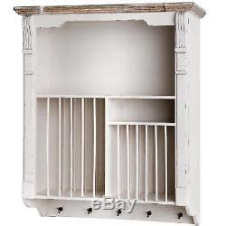 wall mounted distressed antique white wooden wall plate shelf rack holder