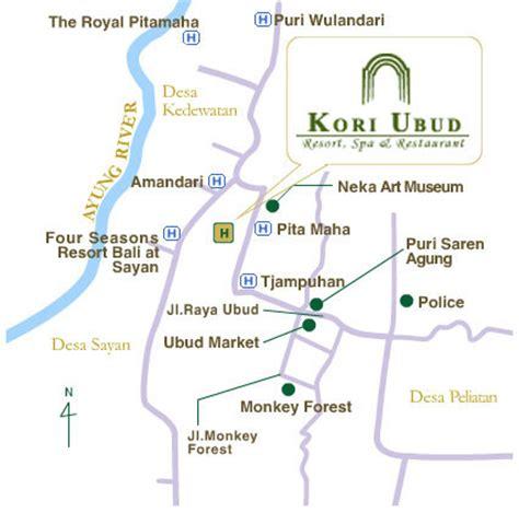 location  map kori ubud resort spa  restaurant