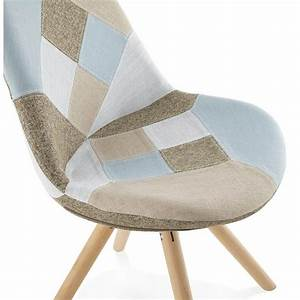 Chaise Bleu Scandinave : chaise patchwork style scandinave boheme en tissu bleu gris beige ~ Teatrodelosmanantiales.com Idées de Décoration
