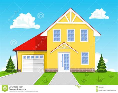 Colorful Cartoon House On Blue Background. Illustration