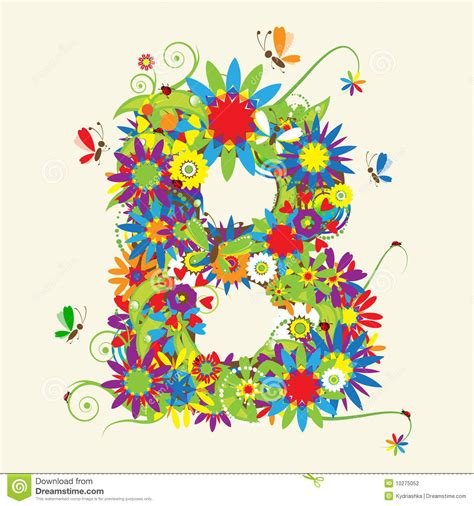 letter b floral design stock vector illustration of