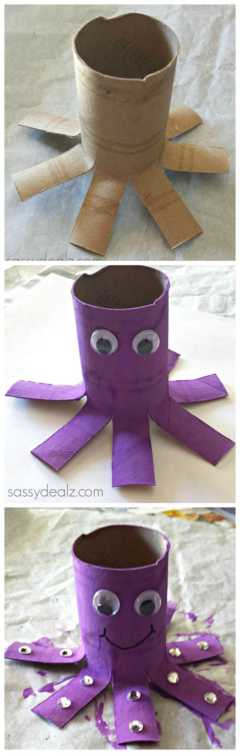 octopus toilet paper roll craft for recycled toilet 611   4315a9fe3c6d3dc68754674d48a319c4