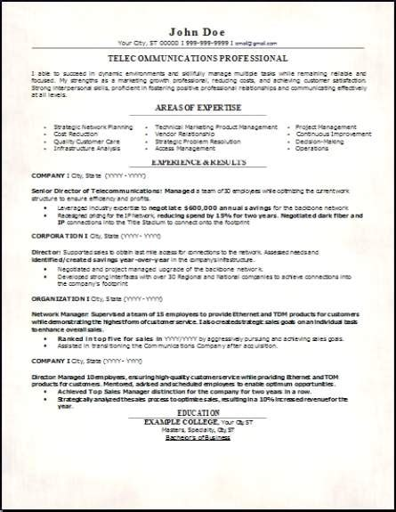 Of Resumes by Telecommunications Resume Occupational Exles Sles