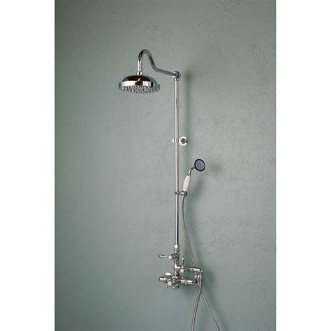 Shower Fixtures - exposed wall mount thermostatic shower faucet with handshower