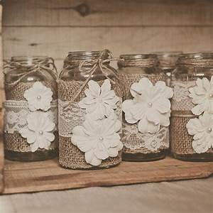 Lace and burlap wedding centerpieces Deer Pearl Flowers