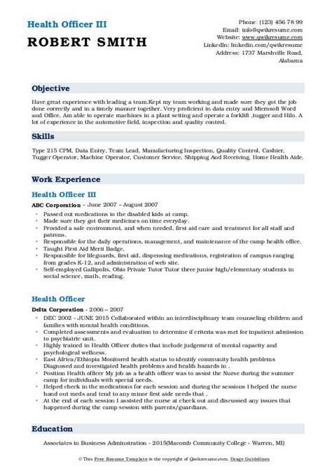 Click to download the healthcare manager resume sample three in pdf. Health Officer Resume Samples | QwikResume