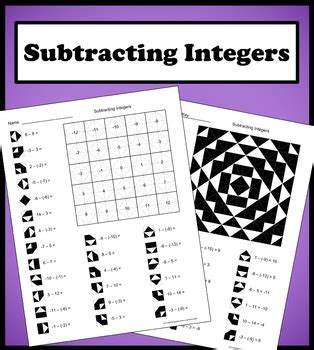 subtracting integers color worksheet by aric tpt