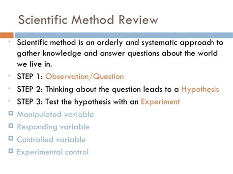 Lecture 1 What Is Chemistry; Scientific Method Review