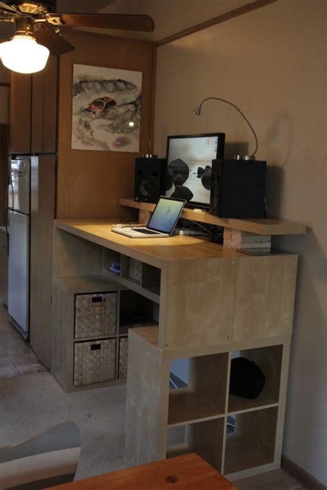 large diy standing desk  lots  storage space