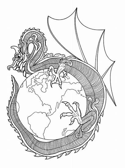 Coloring Pages Dragon Dragons Adults Earth Colouring