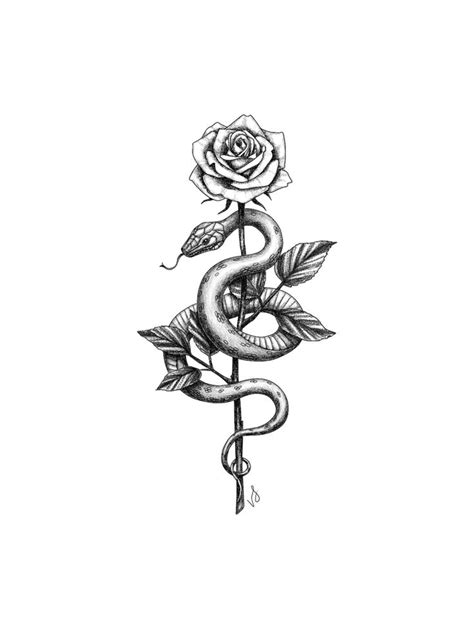 """Snake and Rose Sticker by vicink - White - 3""""x3"""" in 2020"""