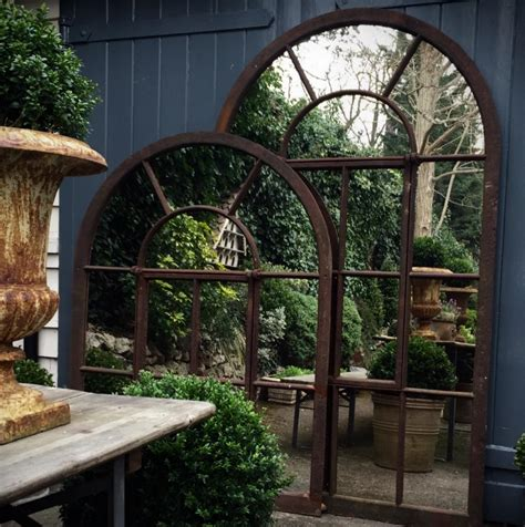 large arch rustic garden window mirror garden mirror