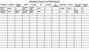 wedding guest list wedding guest list worksheet