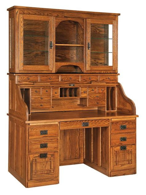 solid oak computer desk with hutch amish mission roll top desk with optional hutch