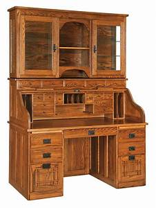 Amish Mission Roll-Top Desk with Optional Hutch