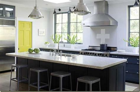 Kitchen Cabinets Paint Ideas - yellow color accents jazz up elegant dark gray kitchen decorating