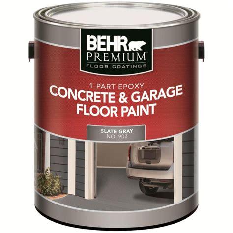 garage floor paint primer behr 1 part epoxy acrylic concrete garage floor paint slate gray 3 79l the home depot canada