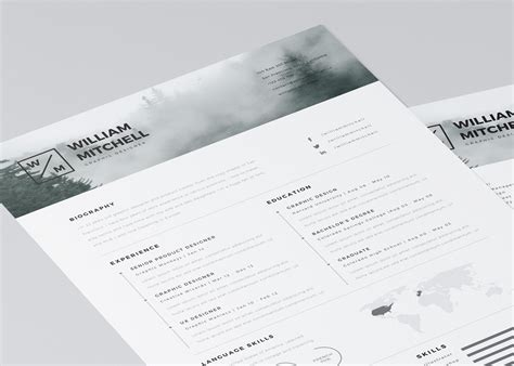 free minimalistic clean resume ps ai on behance