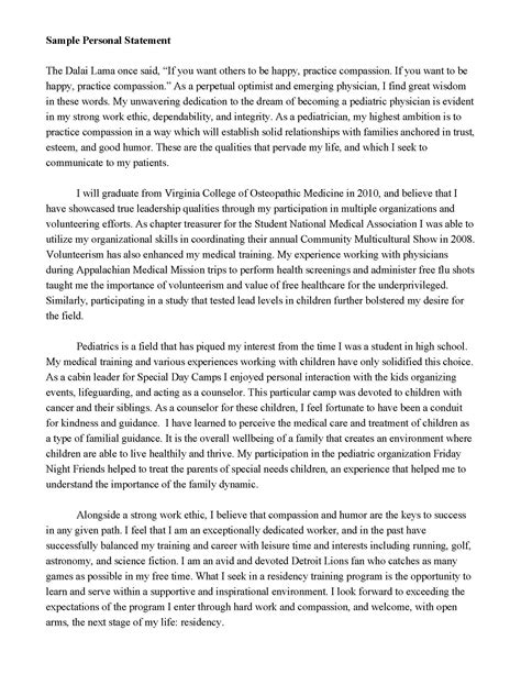 Personal Statement Template Personal Statement Random School College