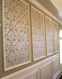 Classic damask stencil diy wall painting damask wall for Kitchen cabinets lowes with damask decals wall art