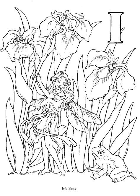 Very Detailed Fairy Flower Alphabet Letter F Coloring