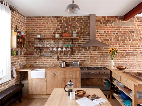 Faux Brick Panels Kitchen Contemporary With Bench Brick
